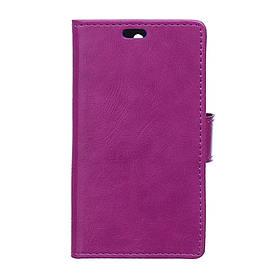 Чехол книжка для Lenovo A1000 боковой с отсеком для визиток и отверстием под динамик, Фиолетовый