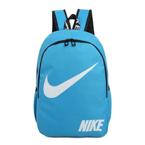 Городской рюкзак Nike голубой с белым логотипом (реплика)