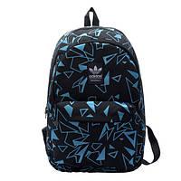 Рюкзак Adidas черный с голубыми треугольниками