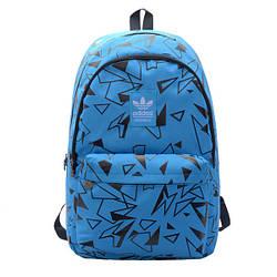 Городской рюкзак Adidas голубой с черными треугольниками (реплика)