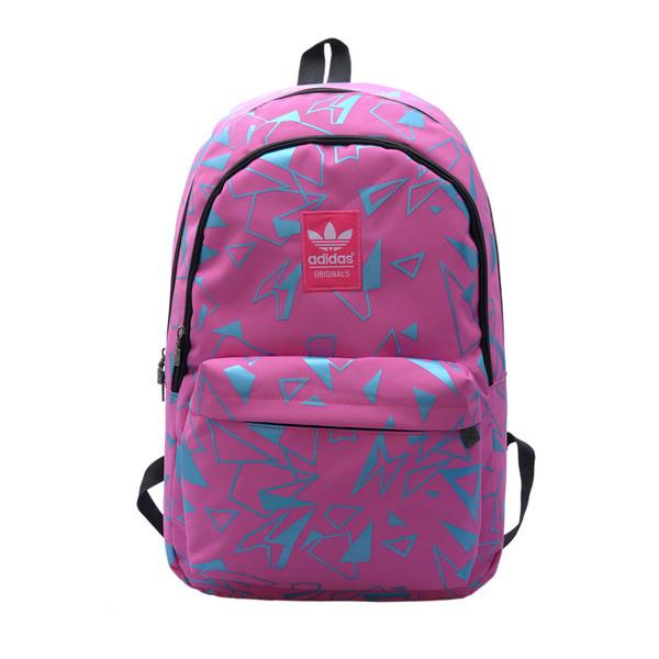 Городской рюкзак Adidas розовый с голубыми треугольниками (реплика)