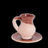 Чашка (филижанка) округлая глиняная с блюдцем Gloss CF10 Покутская керамика 0,1 литра, 10 см