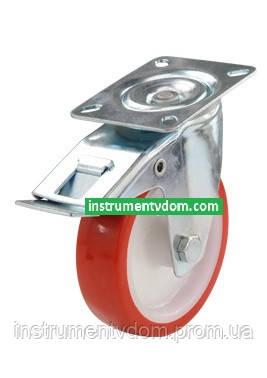 Колесо 330125 с поворотным кронштейном и тормозом (диаметр 125 мм)