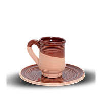 Чашка (филижанка) высокая глиняная с блюдцем Gloss CF11 Покутская керамика 10 см, 0,1 литра