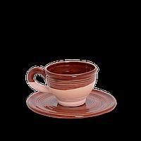 Чашка (филижанка) широкая глиняная с блюдцем Gloss CF12 Покутская керамика 0,1 литра, 10 см