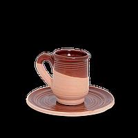 Кружка - чашка (горня) глиняная с блюдцем Gloss CF13 Покутская керамика 0,25 литра