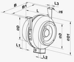 Габариты (размеры) канального центробежного вентилятора Вентс ВКМ 250