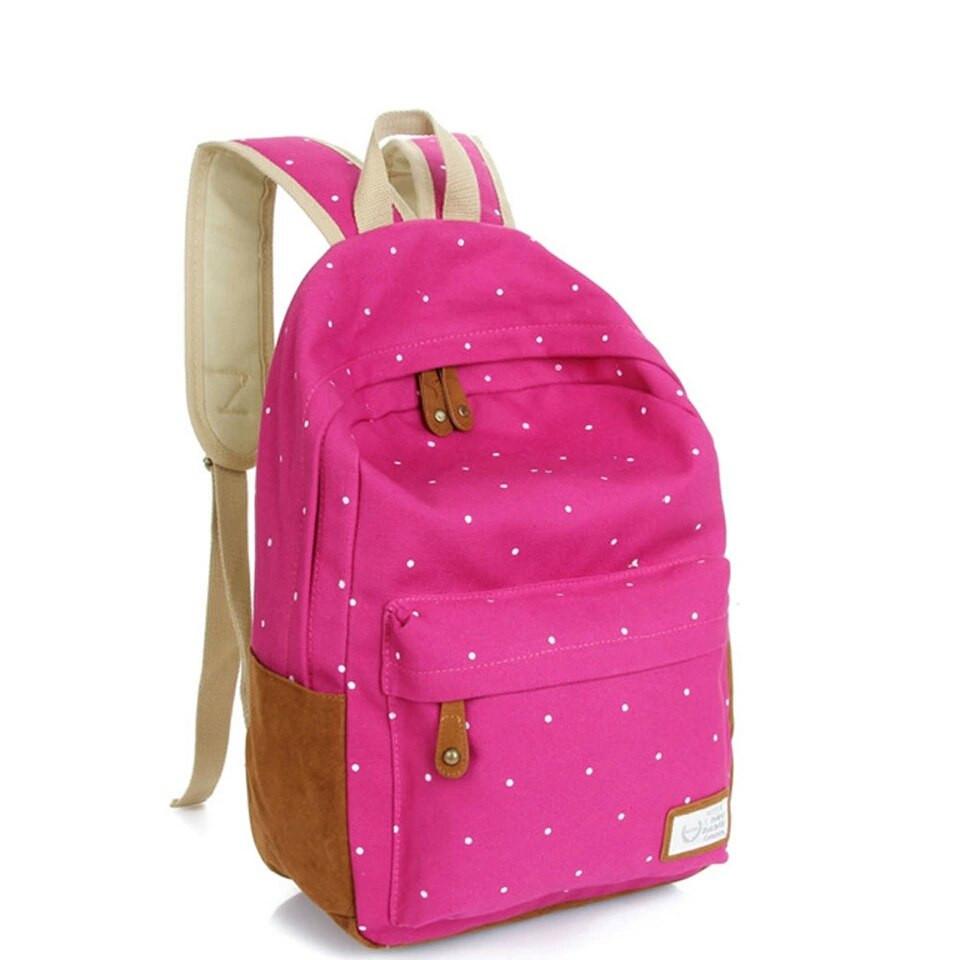Рюкзак в горошек (розовый)