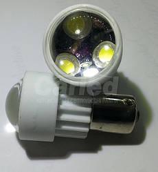 Світлодіодна Автолампа 1156 (P21W) -S25-BA15s3PCS 3W White (180-200Lm) ceramic lamp (з лінзою 90 °)