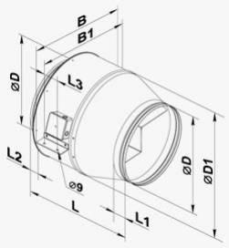 Габариты (размеры) канального центробежного вентилятора Вентс ВКМ 355/400/450