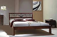 Кровать двуспальная Ретро с ковкой массив ольха