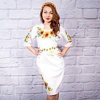 Вышитое женское платье Подсолнухи белого цвета, фото 1
