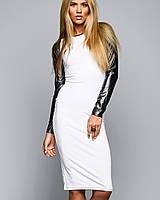 Облегающее белое платье с черными рукавами (Кожаный рукав sk)