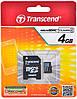 Карта памяти microSDHC Transcend 4 GB class 4 (+ SD адаптер)