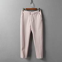 Классические стильные женские укороченные брюки нежного розового цвета