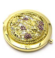 """Зеркальце косметическое """"Узор с камнями"""" золото d-7см в коробке+чехольчик (25007A)"""