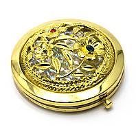 """Зеркальце косметическое """"Узор с камнями"""" золото d-7см в коробке+чехольчик (25007K)"""