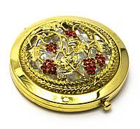 """Зеркальце косметическое """"Узор с камнями"""" золото d-7см в коробке+чехольчик (25007F)"""