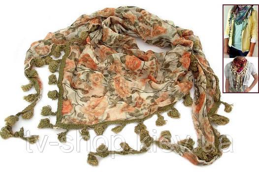 Шарф-косынка с бахромой Осень