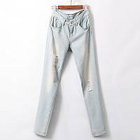 Модные женские укороченные светлые джинсы бойфренды с прорезами