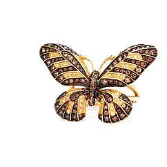 """Золотое кольцо с цирконием """" Бабочка"""""""