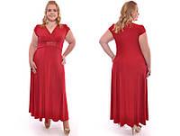 Элегантное длинное красное платье в пол