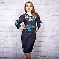 Вышитое женское платье Ромашки и Васильки темно-синего цвета, фото 1