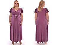 Платье в пол с оригинальными рюшами на плече