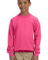 Кофта Gildan® Heavy Blend™ Youth Crewneck Sweatshirt Safety Pink