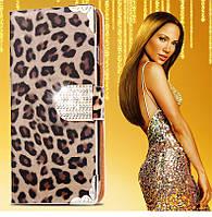 Роскошный леопардовый  закрытый чехол-визитница на Apple iphone 6  со стразами