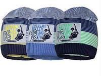 Демисезонные вязаные шапочки для мальчика без подклада (джинс).