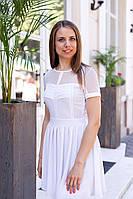 Платье со складками на груди и сеткой - Белый