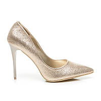 Блестящие туфли лодочки на шпильке золото