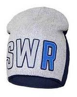 """Детские демисезонные вязаные шапки """"SWR"""" двойные (синий)."""