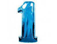 Фольгированная голубая цифра  1  -  100 см. Гелиевые шары. Гелиевые шары Киев. Гелиевые шарики.