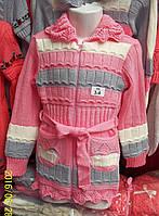 Вязаная кофта на молнии для девочки 1-5 лет