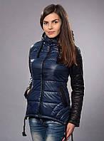 Женская демисезонная куртка - парка, цвет синий с черным