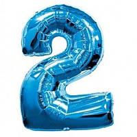 Фольгированная цифра голубая 2 - 100 см.Гелиевые шары, воздушные шары. Гелиевые шары Киев.