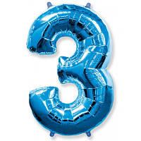 """Фольгированная голубая цифра  """"3"""" 100 см."""