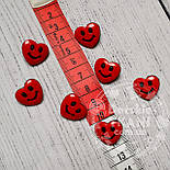 """Пуговицы детские """"сердечки красные с улыбкой"""" П-003, фото 2"""