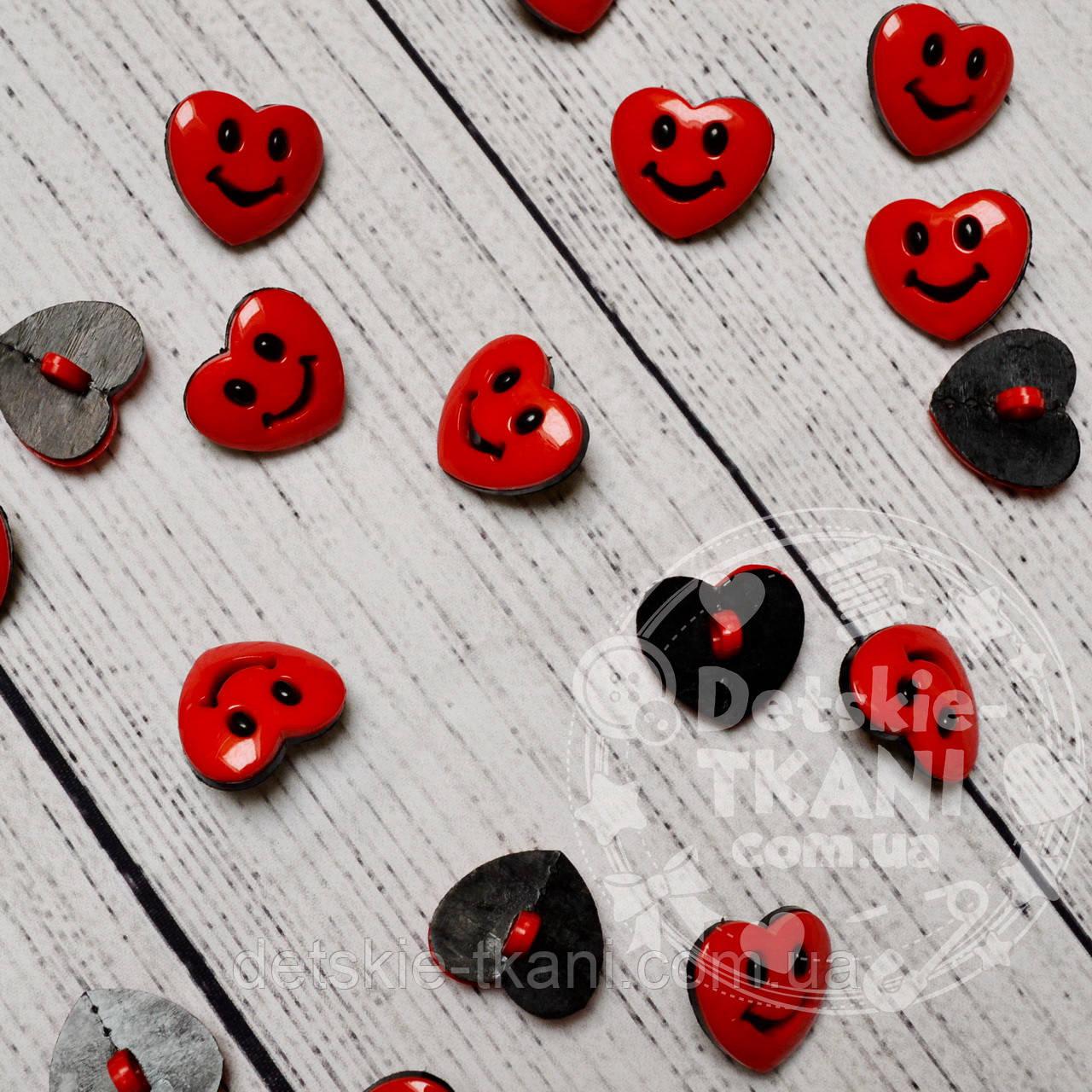 """Пуговицы детские """"сердечки красные с улыбкой"""" П-003"""