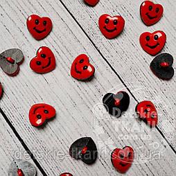 """Пуговицы детские """"сердечки красные"""" П-003"""