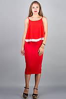 Юбка Карандаш (красный) длины миди ниже колен 44-50 размера, фото 1