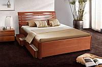Кровать полуторная Мария Люкс массив Бук с ящиками