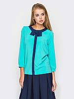 Женская красивая блуза с контрастной отделкой офис р.44,46,48