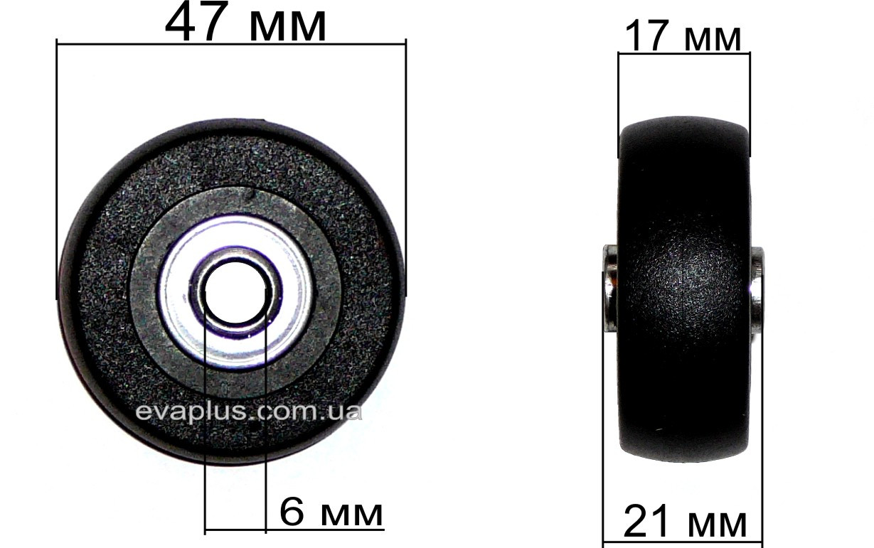 Колесо для чемодана 47мм./6мм./21 мм.