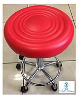 Стул мастера без спинки на колесиках из кожзама красный