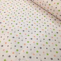 Хлопковая ткань польская разноцветные мелкие звезды