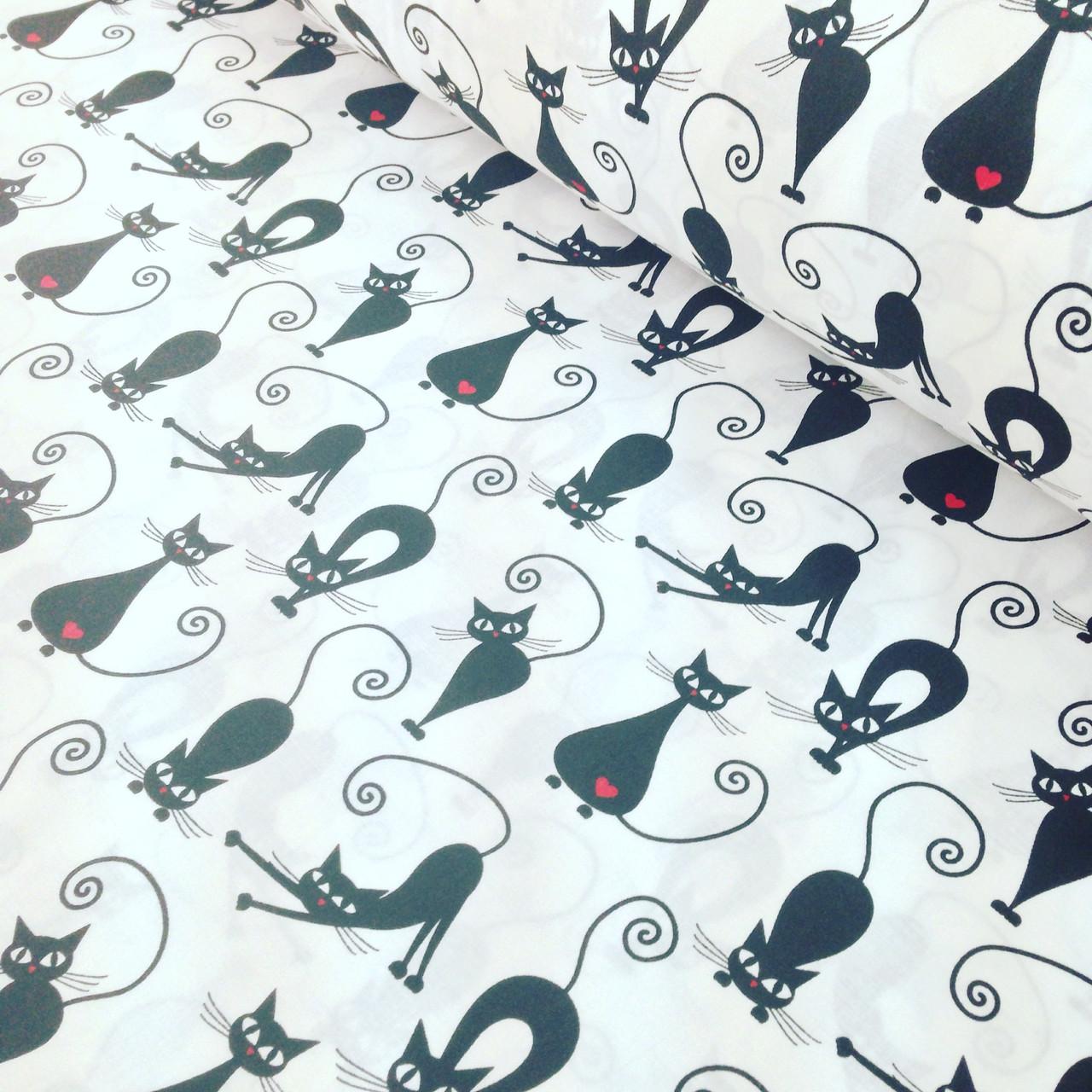 Фланелевая ткань польская черные коты на белом №3