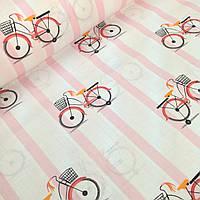 Хлопковая ткань польская велосипеды на розовой полоске